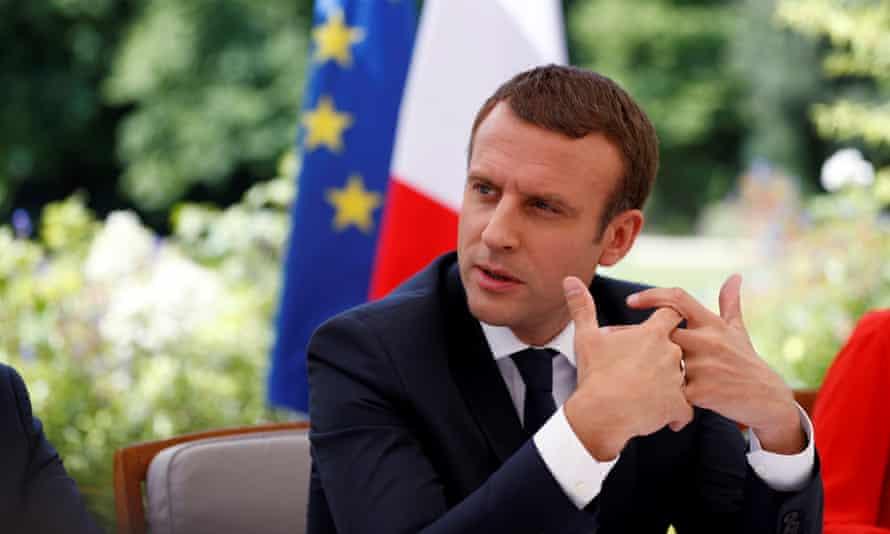Emmanuel Macron photographed during his interview with eight European newspapers on the terrace of the Palais de l'Elysée.
