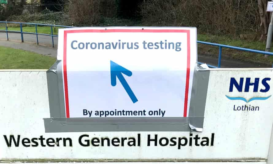 A makeshift sign at the Western general hospital in Edinburgh