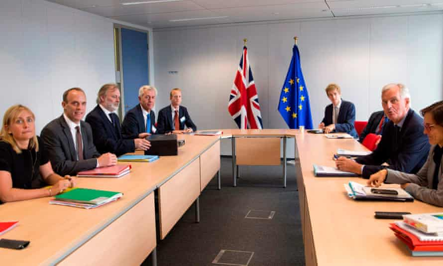 Dominic Raab (second left) and EU Brexit negotiator Michel Barnier (second right) during the meeting on Thursday in Brussels.