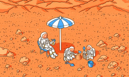 drawing of family in space suits having a holiday on mars