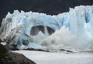 Chunks of ice break off the Perito Moreno glacier at Los Glaciares national park