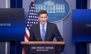 National Security Advisor, retired Lieutenant General Michael Flynn, speaks during a daily news briefing.