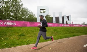 Charlie Dark running in the Olympic park in Stratford, east London.