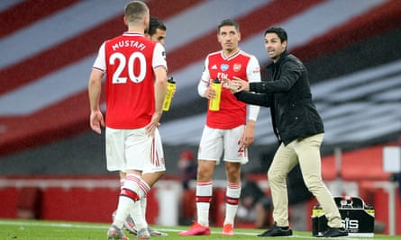 Mikel Arteta gets a point across to his players during Tuesday's draw with Leicester. Arsenal are unbeaten in five games as they head to Tottenham on Sunday.