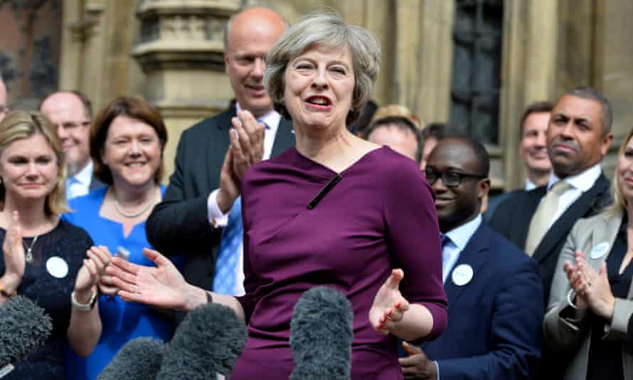 Conservative party leadership frontrunner Theresa May with supporters outside parliament on Thursday