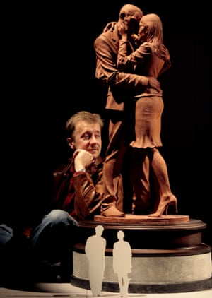 Paul Day with a maquette of The Meeting Place, his nine-metre statue at St Pancras station in London.
