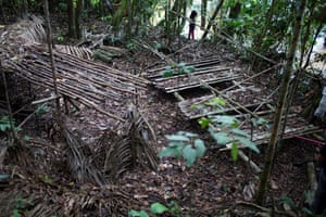 One of the stations built to smoke meat found during the reconnaissance trip.