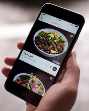 Mobile phone with UberEATS app