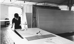 Space co-founder Bridget Riley in her studio at St Katharine Docks in about 1970.