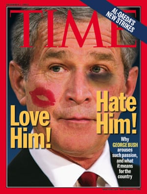 TIME MAGAZINE COVER WITH US PRESIDENT GEORGE W BUSH PHOTO ILLUSTRATIONTIME's cover art portrays a photo illustration of U.S. President George W. Bush with a lipstick-kiss on his left cheek, and a bruised right-eye for its December 1, 2003 edition