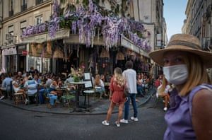 Parisians enjoy the late summer weather in packed cafes and restaurants on the Rue de Buci, Paris, despite the recent surge in Covid-19 infections throughout Paris and France on 13 September, 2020 in Paris, France.