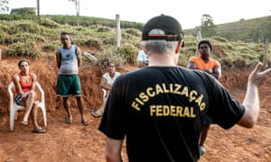 The Brazil labour ministry team makes an assessment on a farm that reportedly kept workers in inhumane conditions, July 2015.