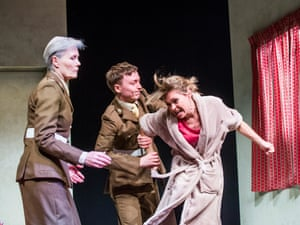 No longer as shocking … Jane Wymark as Major Dawlish, Joseph Prowen as Private Crawford and Sarah Alexander as Hayley Morrison in Mark Ravenhill's The Mother