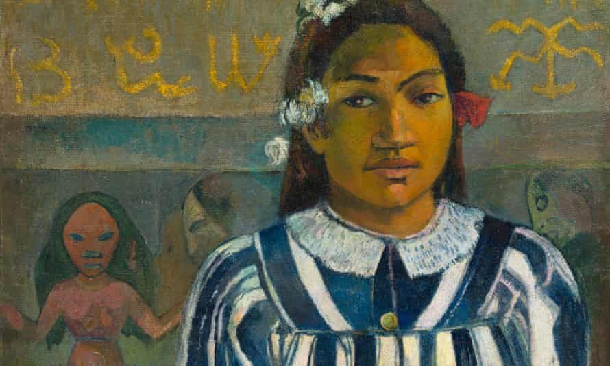 Wearing a missionary-approved dress … a detail of Gauguin's Merahi Metua No Tehamana (Tehamana Has Many Parents).