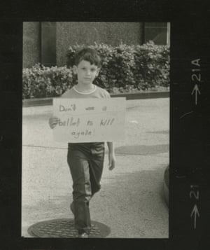 An anti-gun protester outside the NRA's Washington headquarters in the late 1960s.