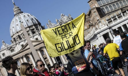 A 'Truth for Giulio' banner in front of St Peter's Basilica in Rome in 2016
