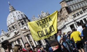 An unidentified participant shows a banner with the words 'Truth for Giulio' at a protest last year.