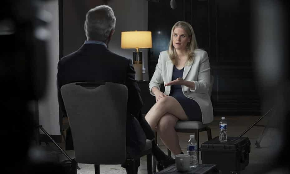 Frances Haugen talks with CBS's Scott Pelley on 60 Minutes