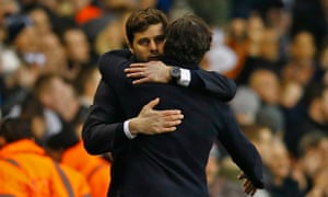 Pochettino hugs Watford manager Quique Sanchez Flores after a deserved win.