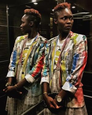 Model and designer Sachakara Dieng wears one of her creations in an elevator in Dakar, December 2018