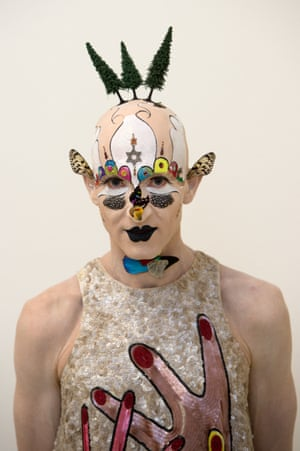 """Art drag: Incorporating drag has long enabled experimental artists – from Andy Warhol to Leigh Bowery and Grayson Perry – to differentiate their work from conventional artistic endeavours. South African artist Steven Cohen poses during a preview of his exhibition """"My Joburg - The Johannesburg Art Scene"""" on October 25, 2013 in Germany."""