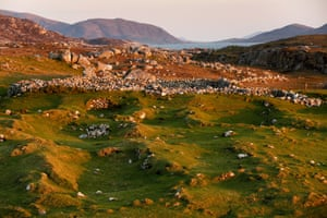 Mealasta village looking beyond ruins to Harris and Scarp.