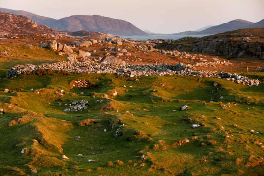 Mealasta village looking beyond ruins to Harris and Scarp.