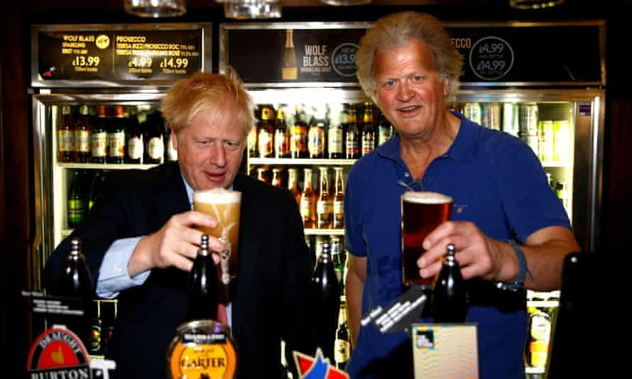 The JD Wetherspoon chairman, Tim Martin, with Boris Johnson in July 2019 during the Tory leadership campaign