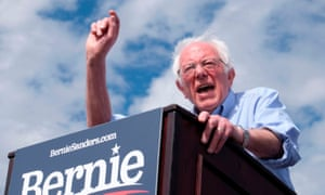 Bernie Sanders at a rally in Santa Ana, California on Friday. Sanders said of Russia: 'I stand firmly against their efforts, and any other foreign power that wants to interfere.'