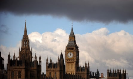 The Houses of Parliament under a rain cloud