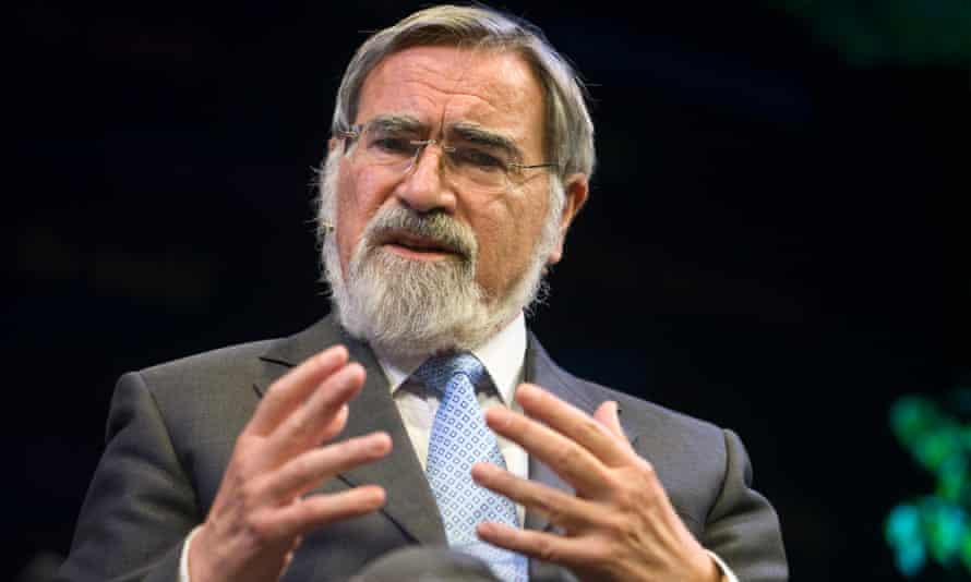 Jonathan Sacks speaking on stage at the Hay festival