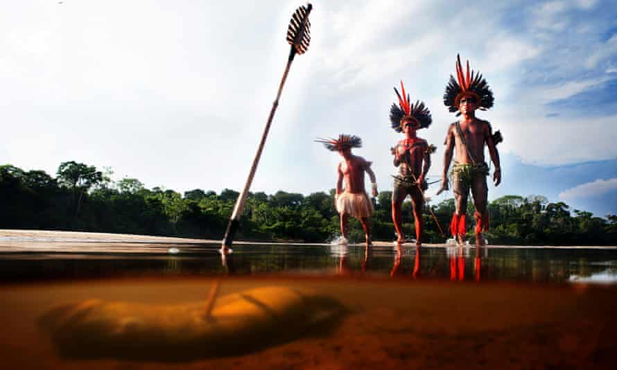 Indigenous people fishing with bow and arrow in the river with the Asurini do Tocantins tribe in the Brazilian Amazon. Conservation scientists have realized that often the best defenders of ecosystems are indigenous tribes.
