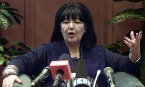 Mira Marković speaking at a press conference at the headquarters of her party, the Yugoslav United Left party (JUL), in Belgrade in 2000.