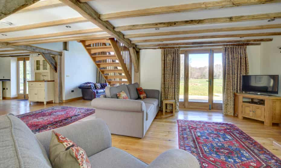 Interior of living room at Birdsong Barn, Guestling, East Sussex, UK