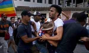 Cuban police detain gay rights activists taking part in an unauthorised march in Havana, Cuba, on 11 May 2019.