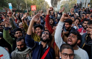 New Delhi, India. People chant during a protest against a controversial citizenship law