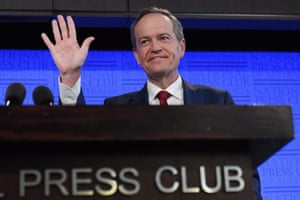 Leader of the Opposition Bill Shorten waves as he speaks at the National Press Club as part of the 2016 election campaign in Canberra, Australian Capital Territory, Australia, 28 June 2016.