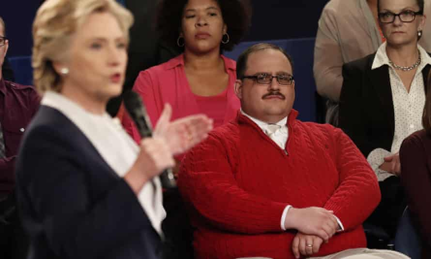 Kenneth Bone listens as Hillary Clinton responds during the second presidential debate.