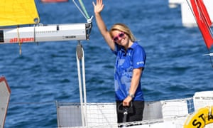 Susie Goodall at the start of the solo round-the-world race in July.