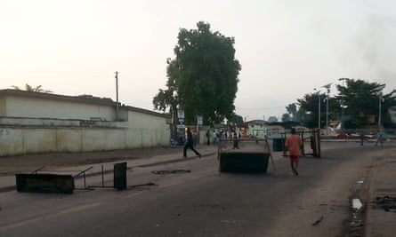 Protesters set up makeshift barricades on a road in Brazzaville, in the Republic of Congo, on 4 April.