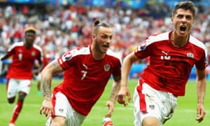 Alessandro Schöpf of Austria celebrates scoring his team's equaliser.