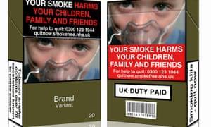 A mock-up design of a standardised cigarette pack