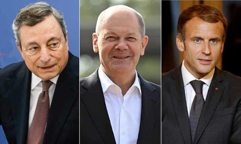 Mario Draghi, Olaf Scholz and Emmanuel Macron composite