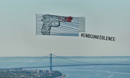 CJ Hendry's artwork in flight over New York.