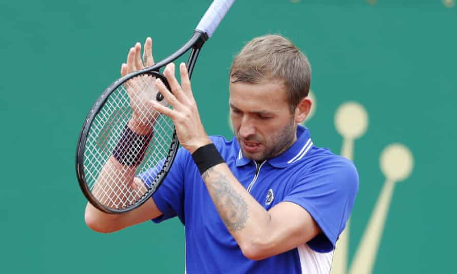 Dan Evans on his way to a straight-sets defeat against Stefanos Tsitsipas