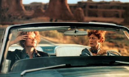 On the road … Geena Davis and Susan Sarandon in Thelma and Louise.