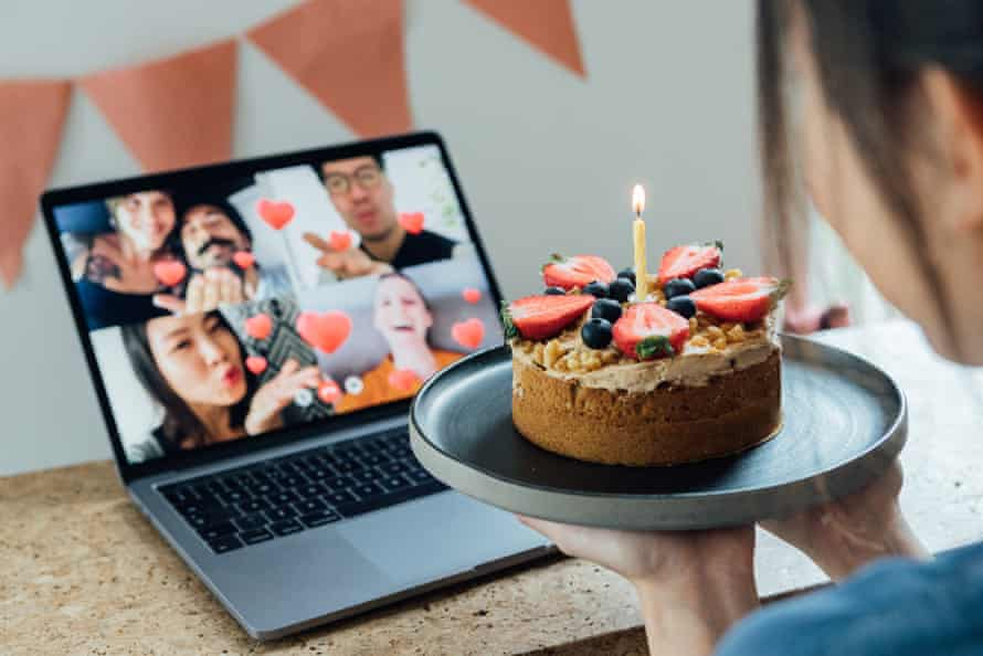 You could offer alternatives to meeting up, including sharing cakes via video calls. (Posed by models.)