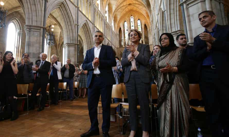 Sadiq Khan with his wife Saadiya his swearing-in ceremony at Southwark cathedral.
