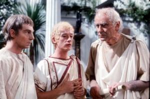 As Caligua, with Derek Jacobi as Claudius and George Baker as Tiberius, in the BBC series I, Claudius, 1976
