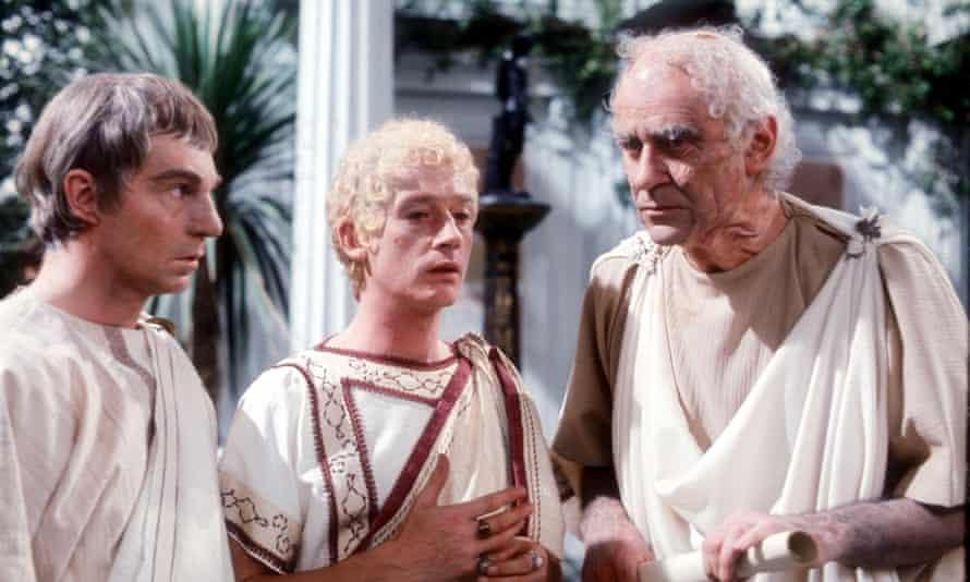 Derek Jacobi as Claudius, John Hurt as Caligula and George Baker as Tiberius in the 1976 TV adaptation of Robert Graves's I, Claudius
